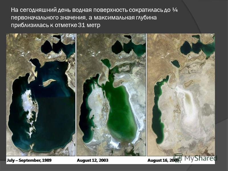На сегодняшний день водная поверхность сократилась до ¼ первоначального значения, а максимальная глубина приблизилась к отметке 31 метр