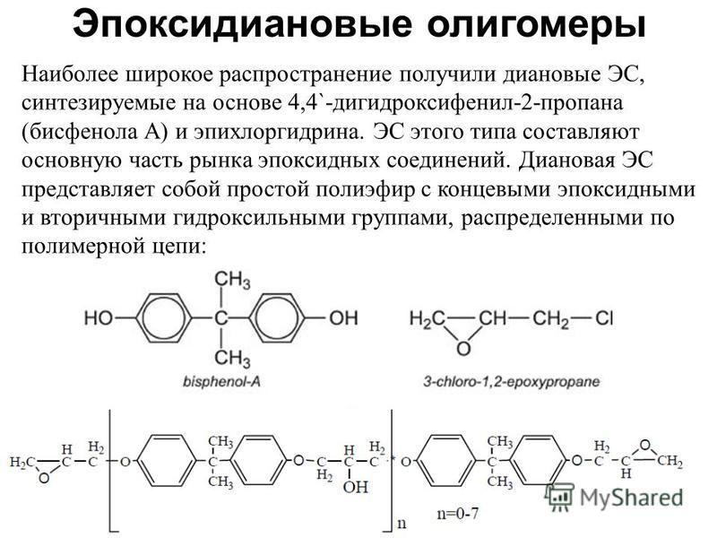 Эпоксидиановые олигомеры Наиболее широкое распространение получили диановые ЭС, синтезируемые на основе 4,4`-дигидроксифенил-2-пропана (бисфенола А) и эпихлоргидрина. ЭС этого типа составляют основную часть рынка эпоксидных соединений. Диановая ЭС пр