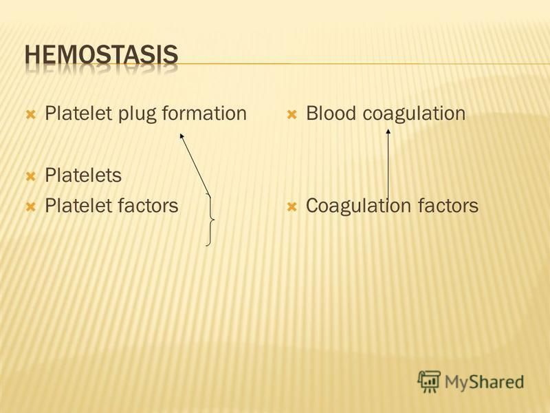 Platelet plug formation Platelets Platelet factors Blood coagulation Coagulation factors