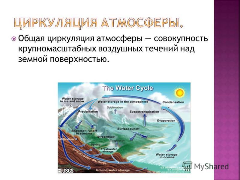 Общая циркуляция атмосферы совокупность крупномасштабных воздушных течений над земной поверхностью.