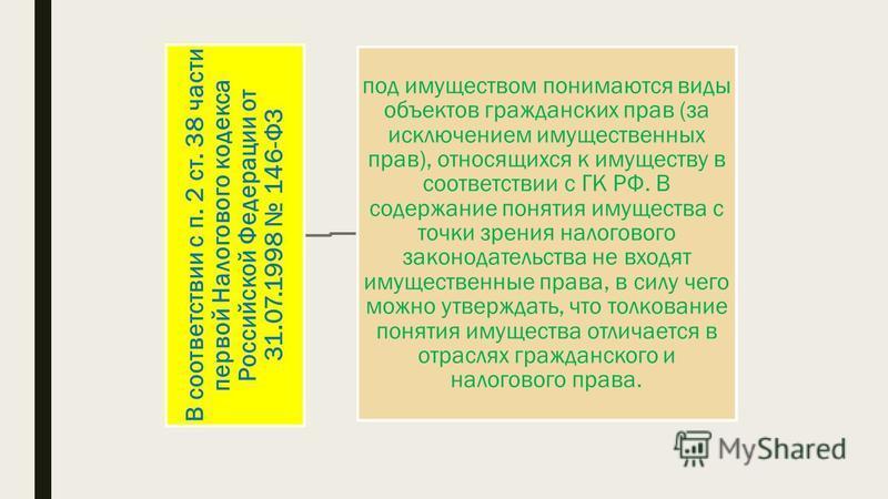 В соответствии с п. 2 ст. 38 части первой Налогового кодекса Российской Федерации от 31.07.1998 146-ФЗ под имуществом понимаются виды объектов гражданских прав (за исключением имущественных прав), относящихся к имуществу в соответствии с ГК РФ. В сод