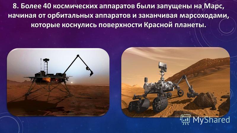 8. Более 40 космических аппаратов были запущены на Марс, начиная от орбитальных аппаратов и заканчивая марсоходами, которые коснулись поверхности Красной планеты.