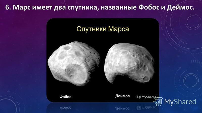 6. Марс имеет два спутника, названные Фобос и Деймос.
