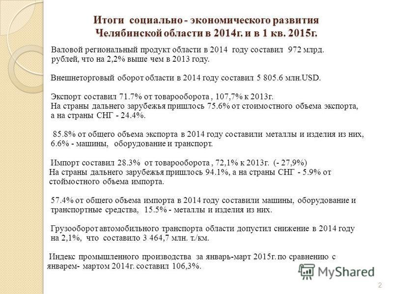 Итоги социально - экономического развития Челябинской области в 2014 г. и в 1 кв. 2015 г. Валовой региональный продукт области в 2014 году составил 972 млрд. рублей, что на 2,2% выше чем в 2013 году. Внешнеторговый оборот области в 2014 году составил