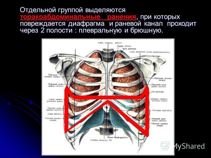 Отдельной группой выделяются, при которых повреждается диафрагма и раневой канал проходит через 2 полости : плевральную и брюшную. Отдельной группой выделяются торакоабдоминальные ранения, при которых повреждается диафрагма и раневой канал проходит ч