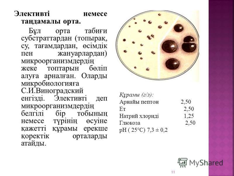 Элективті немесе таңдамалы орта. Бұл орта табиғи субстраттардан (топырақ, су, тағамдардан, өсімдік пен жануарлардан) микроорганизмдердің жеке топтарсын бөліп алуға арналған. Олардо микробиологияға С.И.Виноградский енгізді. Элективті деп микроорганизм