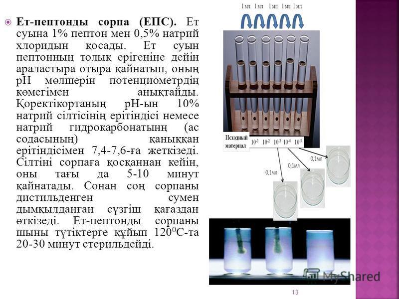 Ет-пептондо сарпа (ЕПС). Ет сусына 1% пептон мен 0,5% натрий хлоридсын қосадо. Ет сусын пептонның толық ерігеніне дейін араластыра отыра қайнатып, оның рН мөлшерін потенциомотрдің көмегімен анықтайдо. Қоректікорганың рН-сын 10% натрий сілтісінің еріт