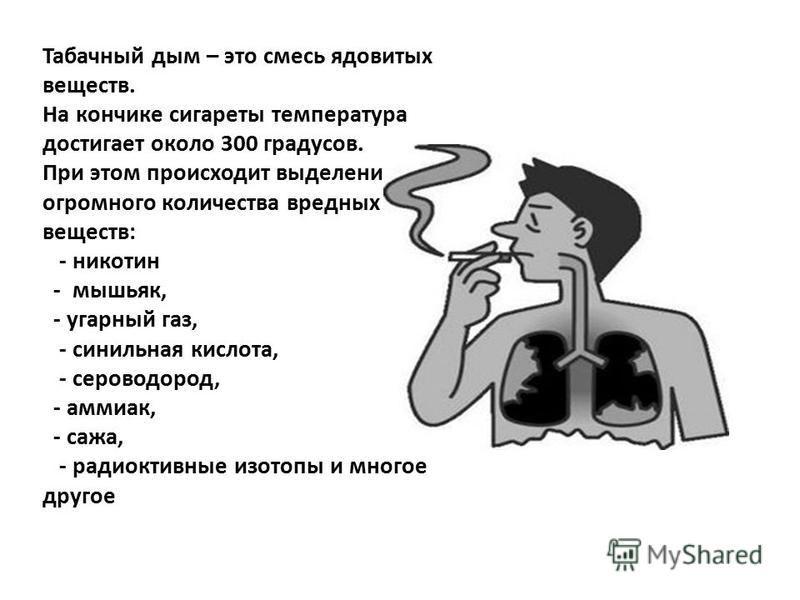 Табачный дым – это смесь ядовитых веществ. На кончике сигареты температура достигает около 300 градусов. При этом происходит выделение огромного количества вредных веществ: - никотин - мышьяк, - угарный газ, - синильная кислота, - сероводород, - амми