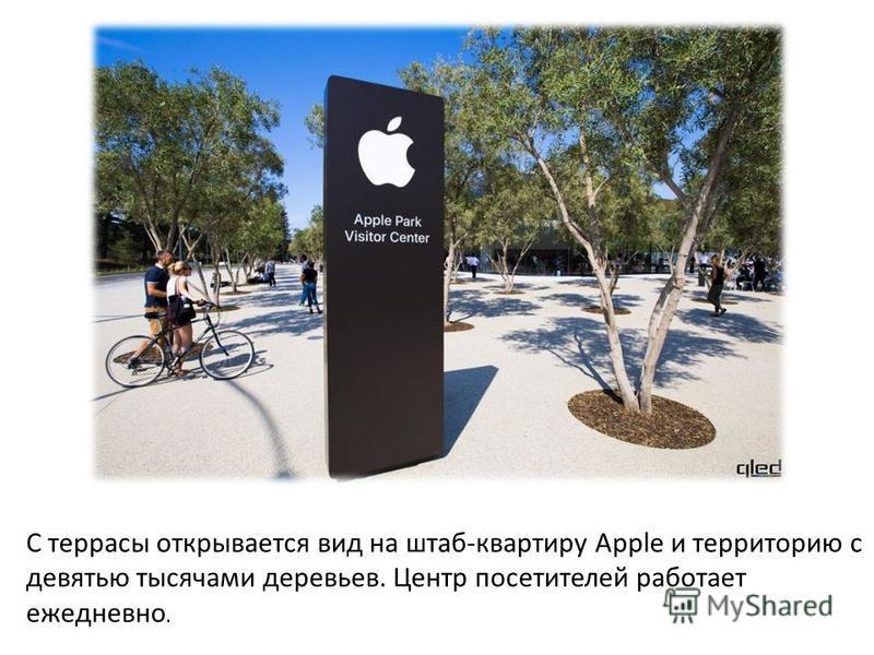 С террасы открывается вид на штаб-квартиру Apple и территорию с девятью тысячами деревьев. Центр посетителей работает ежедневно.