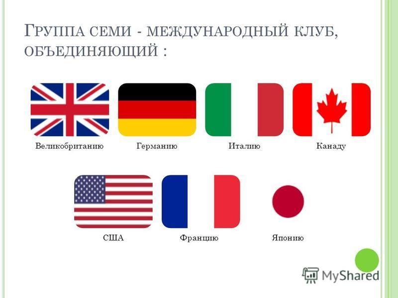 Г РУППА СЕМИ - МЕЖДУНАРОДНЫЙ КЛУБ, ОБЪЕДИНЯЮЩИЙ : Великобританию ГерманиюИталию Канаду СШАФранцию Японию