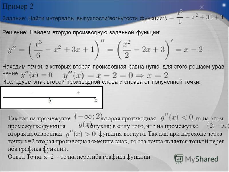 Пример 2 Задание: Найти интервалы выпуклости/вогнутости функции: Решение: Найдем вторую производную заданной функции: Находим точки, в которых вторая производная равна нулю, для этого решаем уравнение Исследуем знак второй производной слева и справа
