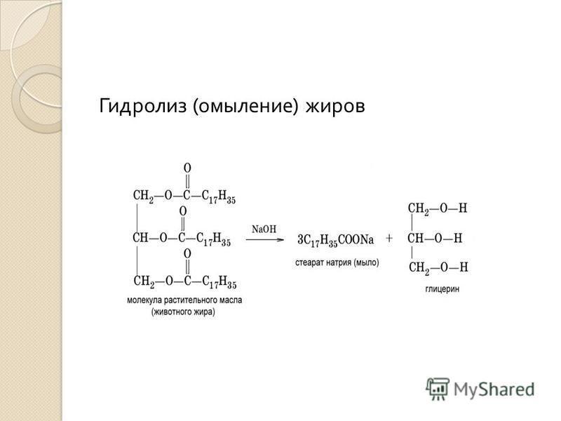 Гидролиз ( омыление ) жиров