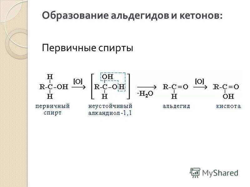 Образование альдегидов и кетонов : Первичные спирты