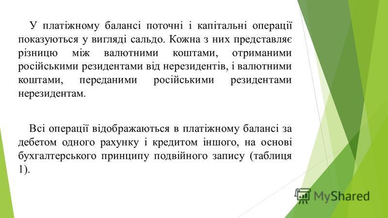 У платіжному балансі поточні і капітальні операції показуються у вигляді сальдо. Кожна з них представляє різницю між валютними коштами, отриманими російськими резидентами від нерезидентів, і валютними коштами, переданими російськими резидентами нерез