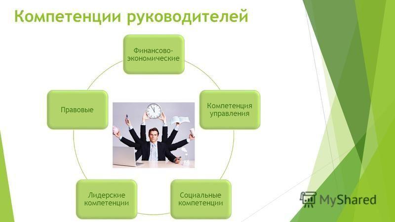 Компетенции руководителей Финансово- экономические Компетенция управления Социальные компетенции Лидерские компетенции Правовые
