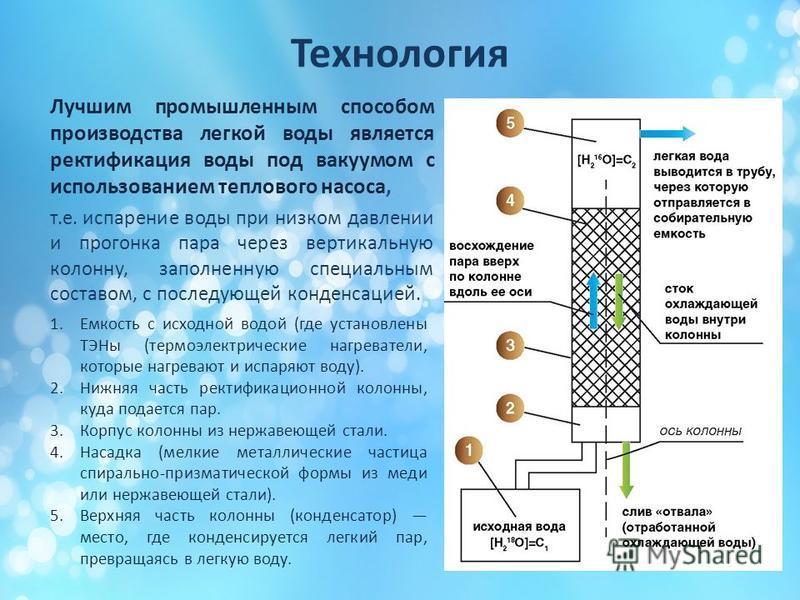 Технология Лучшим промышленным способом производства легкой воды является ректификация воды под вакуумом с использованием теплового насоса, т.е. испарение воды при низком давлении и прогонка пара через вертикальную колонну, заполненную специальным со