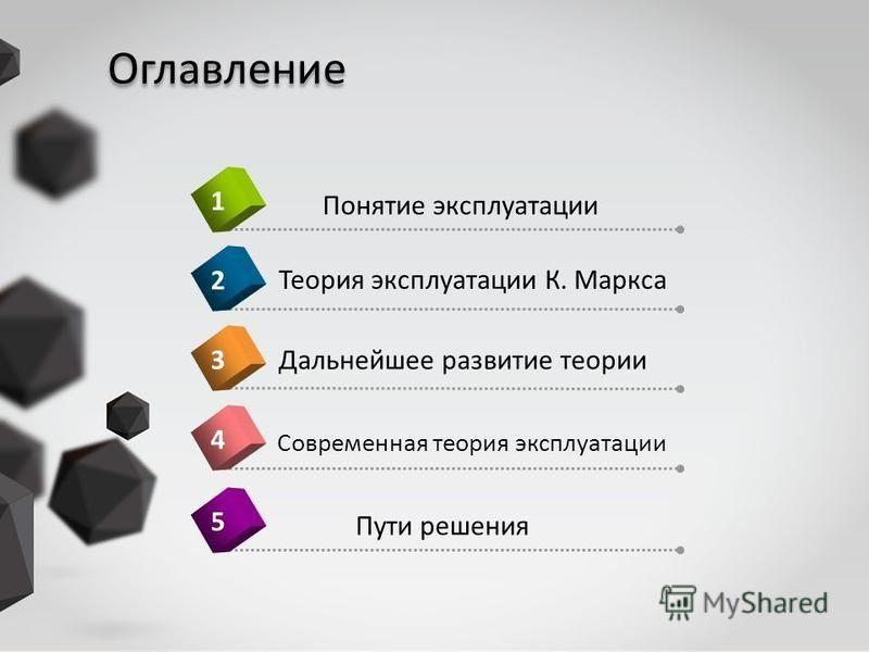 Оглавление Современная теория эксплуатации 4 Понятие эксплуатации 1 Теория эксплуатации К. Маркса 2Дальнейшее развитие теории 3 Пути решения 5