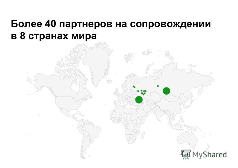 Более 40 партнеров на сопровождении в 8 странах мира