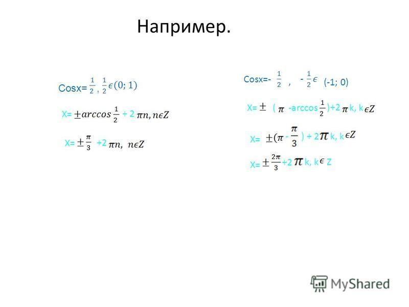 Например. Cosx=, X=+ 2 X=+2 Cosx=- -,(-1; 0) X=(-arccos)+2k, k X= -) + 2k, k X= +2k, kZ