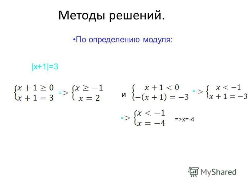 Методы решений. По определению модуля: |x+1|=3 = и = = =>x=-4
