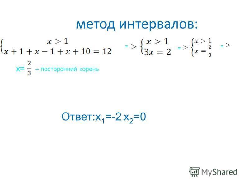 метод интервалов: = = = x=x= – посторонний корень Ответ:x 1 =-2 x 2 =0