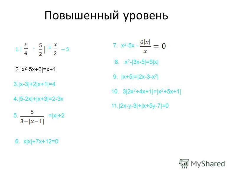 Повышенный уровень 1.| - – 5 = 2.|x 2 -5x+6|=x+1 3.|x-3|+2|x+1|=4 4.|5-2x|+|x+3|=2-3x 5.=|x|+2 6. x|x|+7x+12=0 7. x 2 -5x - 8. x 2 -|3x-5|=5|x| 9. |x+5|=|2x-3-x 2 | 10. 3|2x 2 +4x+1|=|x 2 +5x+1| 11.|2x-y-3|+|x+5y-7|=0