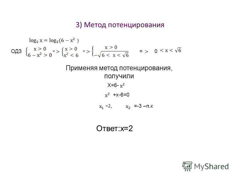 3) Метод потенцирования ) ОДЗ = = =0 Применяя метод потенцирования, получили Х=6- +х-6=0 =2, =-3 –п.к Ответ:х=2
