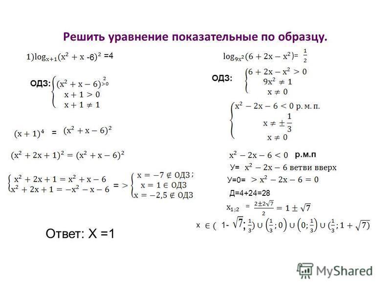 Решить уравнение показательные по образцу. -6 =4 ОДЗ: = = Ответ: Х =1 )= ОДЗ: р.м.п У= У=0= Д=4+24=28 = х 1- ; ;