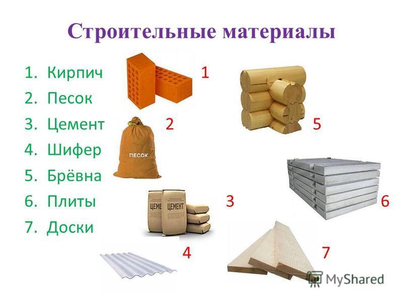 Строительные материалы 1. Кирпич 1 2. Песок 3. Цемент 2 5 4. Шифер 5.Брёвна 6. Плиты 3 6 7. Доски 4 7