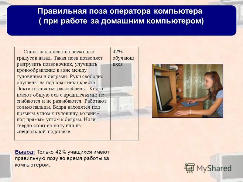 Правильная поза оператора компьютера ( при работе за домашним компьютером) Спина наклонена на несколько градусов назад. Такая поза позволяет разгрузить позвоночник, улучшить кровообращение в зоне между туловищем и бедрами. Руки свободно опущены на по