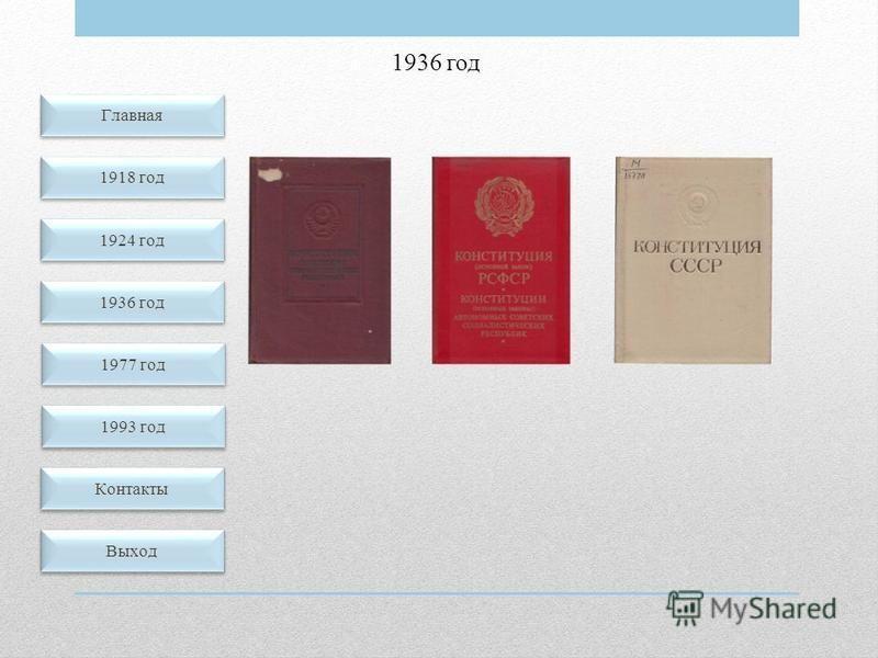 1936 год Главная 1918 год 1924 год 1936 год Контакты Выход 1977 год 1993 год