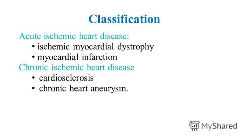 Сlassification Acute ischemic heart disease: ischemic myocardial dystrophy myocardial infarction Сhronic ischemic heart disease cardiosclerosis chronic heart aneurysm.