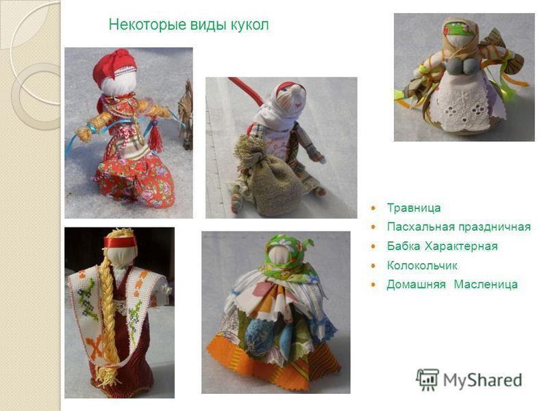 Травница Пасхальная праздничная Бабка Характерная Колокольчик Домашняя Масленица Некоторые виды кукол