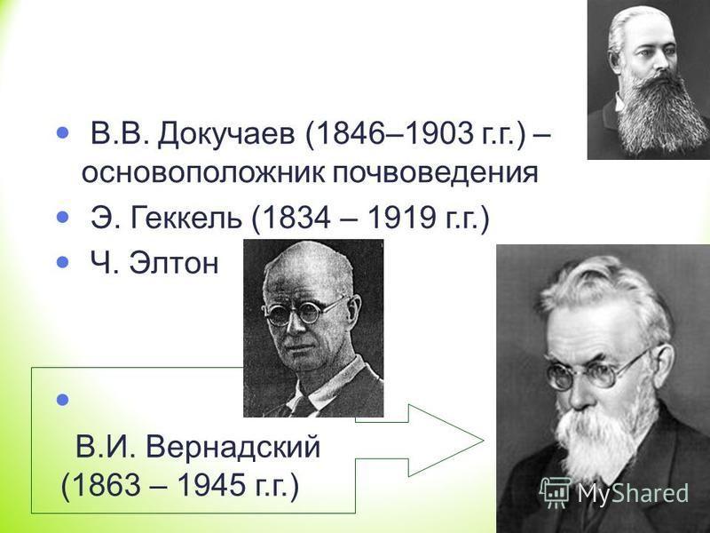 В.В. Докучаев (1846–1903 г.г.) – основоположник почвоведения Э. Геккель (1834 – 1919 г.г.) Ч. Элтон В.И. Вернадский (1863 – 1945 г.г.)