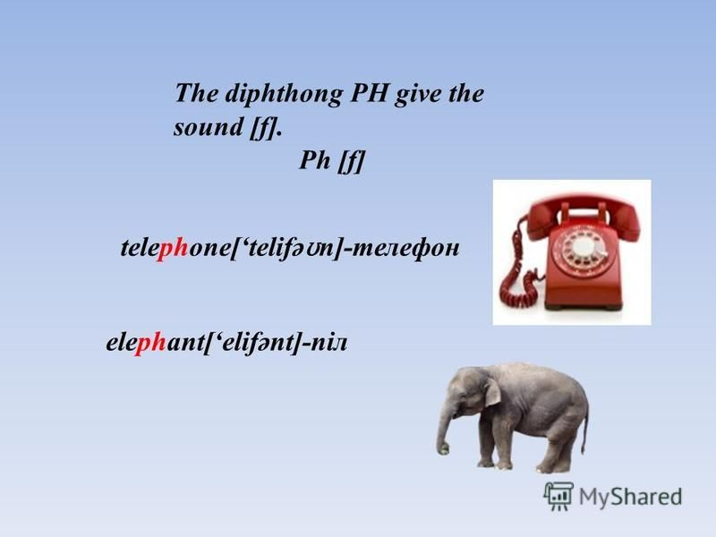 pheasant[ feznt]-қырғауыл The diphthong PH give the sound [f]. Ph [f] telephone[telifə ʊ n]-телефон elephant[elifənt]-піл