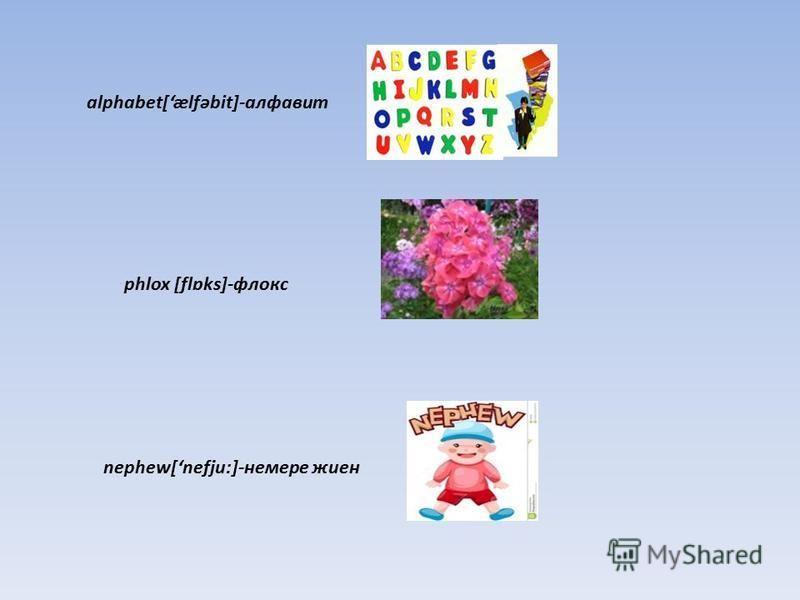 alphabet[ælfəbit]-алфавит phlox [flɒks]-флокс nephew[nefju:]-немере жиен