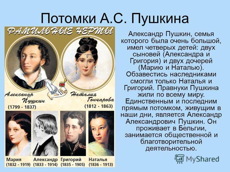 Потомки А.С. Пушкина Александр Пушкин, семья которого была очень большой, имел четверых детей: двух сыновей (Александра и Григория) и двух дочерей (Марию и Наталью). Обзавестись наследниками смогли только Наталья и Григорий. Правнуки Пушкина жили по