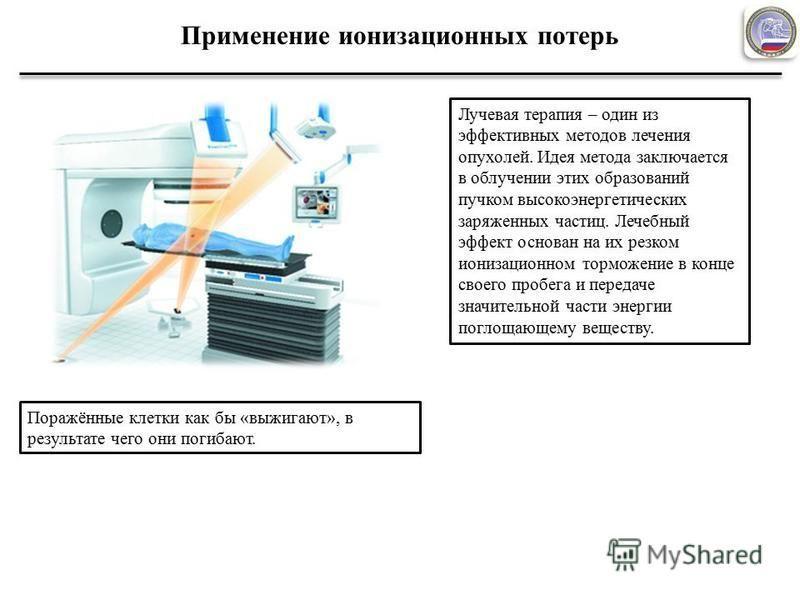 Применение ионизационных потерь Лучевая терапия – один из эффективных методов лечения опухолей. Идея метода заключается в облучении этих образований пучком высокоэнергетических заряженных частиц. Лечебный эффект основан на их резком ионизационном тор