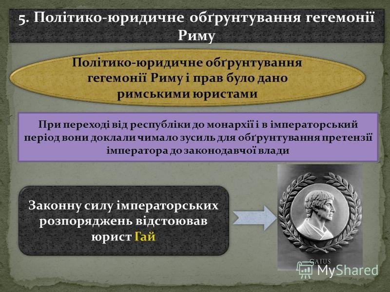 Політико-юридичне обґрунтування гегемонії Риму і прав було дано римськими юристами 5. Політико-юридичне обґрунтування гегемонії Риму При переході від республіки до монархії і в імператорський період вони доклали чимало зусиль для обґрунтування претен