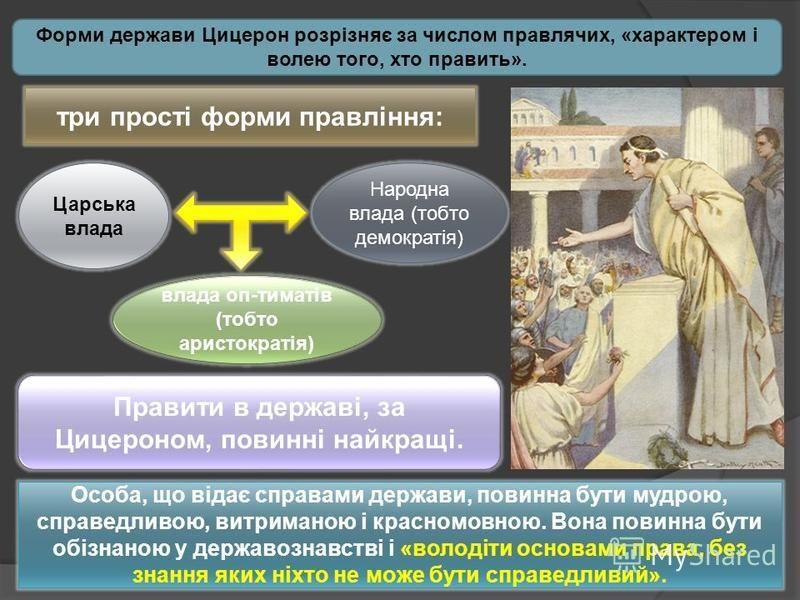 Форми держави Цицерон розрізняє за числом правлячих, «характером і волею того, хто править». три прості форми правління: Царська влада влада оп-тиматів (тобто аристократія) Народна влада (тобто демократія) Правити в державі, за Цицероном, повинні най