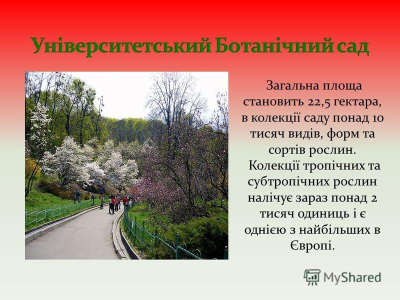 Загальна площа становить 22,5 гектара, в колекції саду понад 10 тисяч видів, форм та сортів рослин. Колекції тропічних та субтропічних рослин налічує зараз понад 2 тисяч одиниць і є однією з найбільших в Європі.