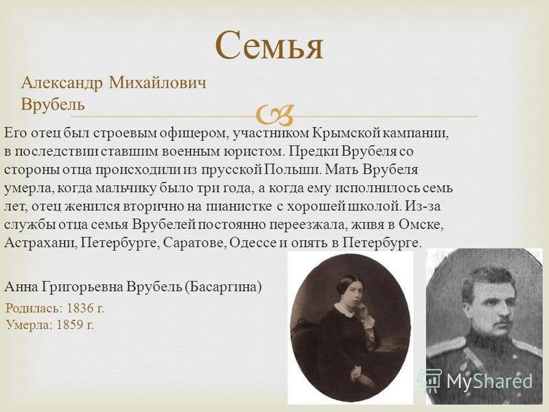 Его отец был строевым офицером, участником Крымской кампании, в последствии ставшим военным юристом. Предки Врубеля со стороны отца происходили из прусской Польши. Мать Врубеля умерла, когда мальчику было три года, а когда ему исполнилось семь лет, о