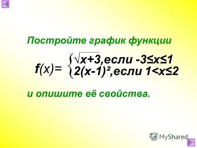 f(x)= Постройте график функции и опишите её свойства. x+3,если -3 х 1 2(х-1)²,если 1<х 2