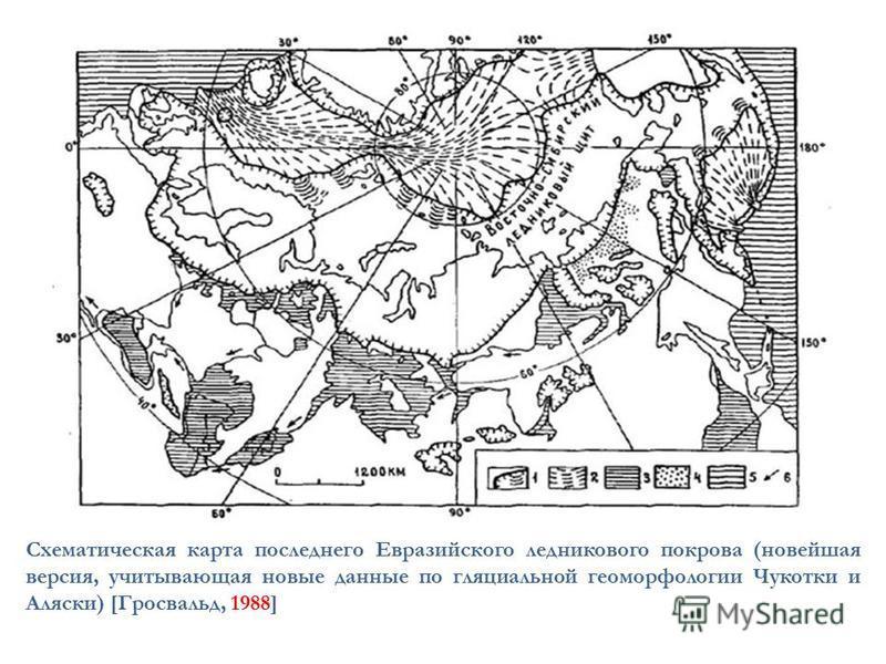Схематическая карта последнего Евразийского ледникового покрова (новейшая версия, учитывающая новые данные по гляциальной геоморфологии Чукотки и Аляски) [Гросвальд, 1988]