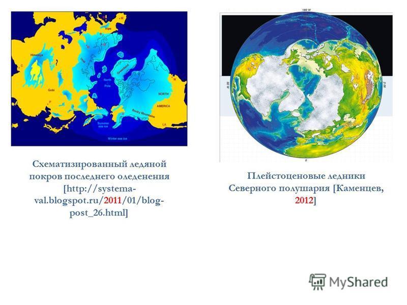 Схематизированный ледяной покров последнего оледенения [http://systema- val.blogspot.ru/2011/01/blog- post_26.html] Плейстоценовые ледники Северного полушария [Каменцев, 2012]