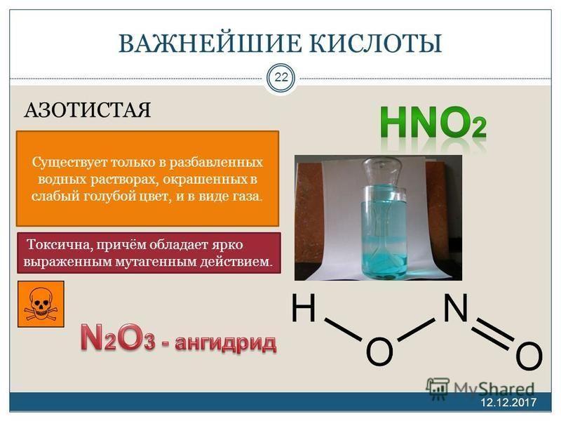 ВАЖНЕЙШИЕ КИСЛОТЫ АЗОТИСТАЯ 12.12.2017 22 Существует только в разбавленных водных растворах, окрашенных в слабый голубой цвет, и в виде газа. Токсична, причём обладает ярко выраженным мутагенным действием.