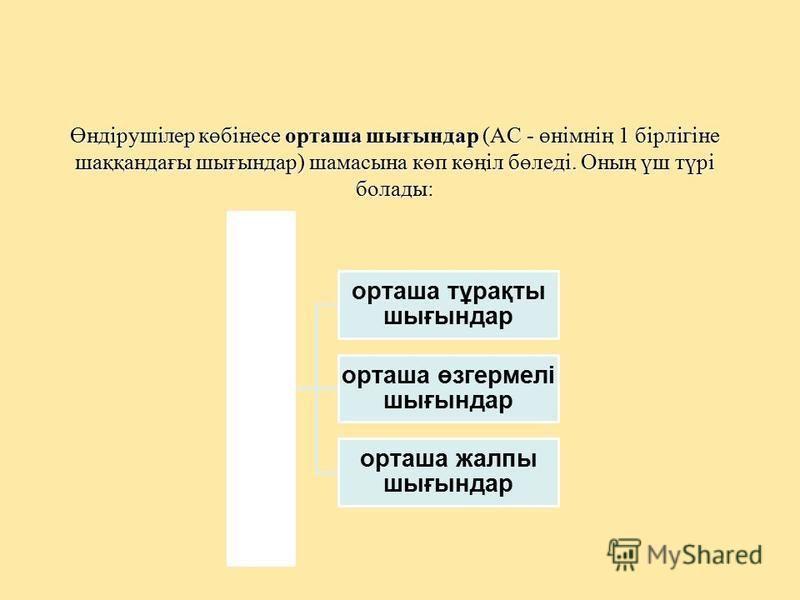 Өндірушілер көбінесе орташа шығындар (АС - өнімнің 1 бірлігіне шаққандағы шығындар) шамасына көп көңіл бөледі. Оның үш түрі болады: орташа шығындар орташа тұрақты шығындар орташа өзгермелі шығындар орташа жалпы шығындар
