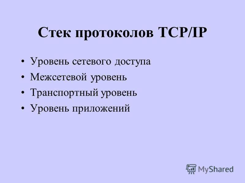 Стек протоколов TCP/IP Уровень сетевого доступа Межсетевой уровень Транспортный уровень Уровень приложений