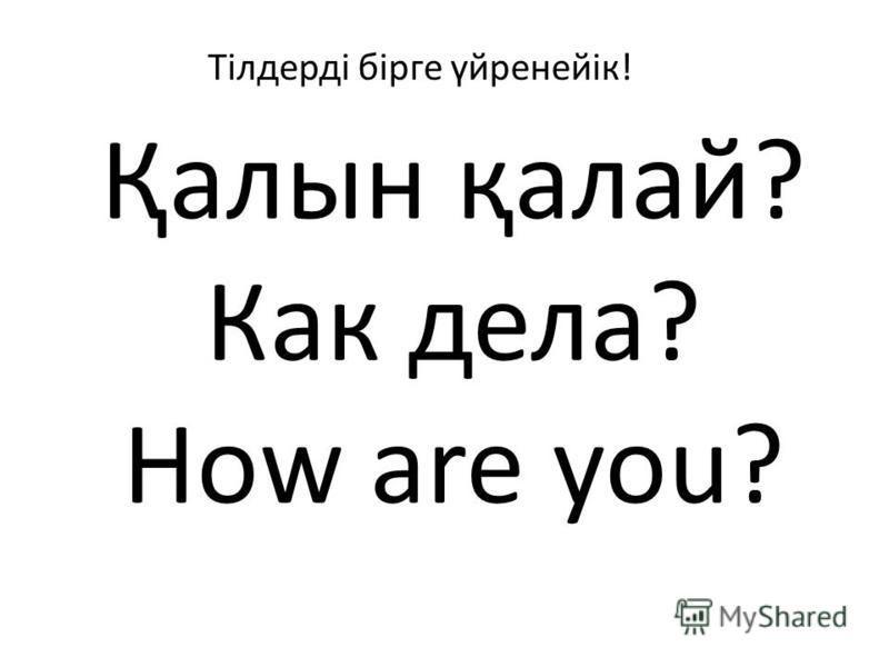 Қалын қалай? Как дела? How are you? Тілдерді бірге үйренейік!