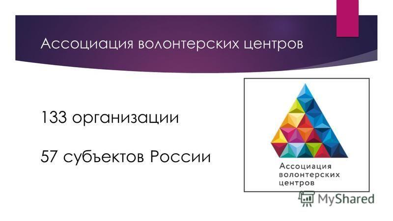 Ассоциация волонтерских центров 133 организации 57 субъектов России